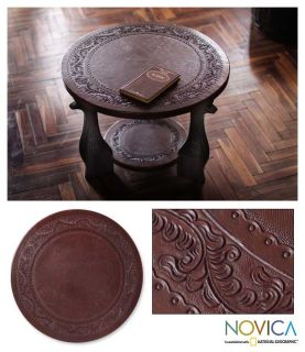 Queen Sofia Hand Tooled Leather Cedar Coffee End Table Novica Peru Art