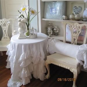 COUNTRY COTTAGE CHIC WHITE PETTICOAT LAYER TIER RUFFLES TABLECLOTH