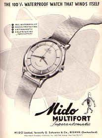 1947 14K ROSE GOLD & SS MIDO MULTIFORT AUTOMATIC BUMPER LUMED DIAL