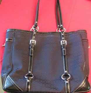 Authentic Large Coach Tote Handbag Black Purse with Silver Hardware