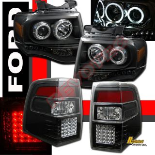 2007 2011 FORD EXPEDITION CCFL HALO PROJECTOR HEADLIGHTS LED TAIL