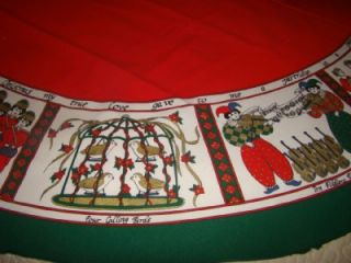 60 x 84 12 Days of Christmas Red & Green Tablecloth Gold Accents