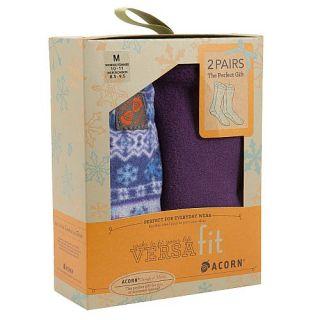 Acorn Versafit Fleece Socks 2 Pair Gift Box Set Icelandic Blue Plum