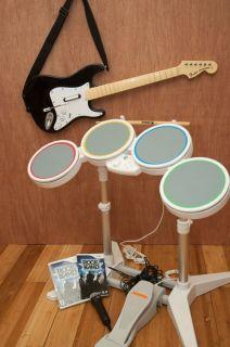 Nintendo Wii Rock Band Bundle Game Drums Sticks Guitar Microphone