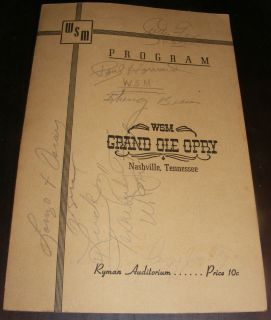 Ole Opry Program Signed Bill Monroe Roy Acuff Minnie Pearl Red Foley