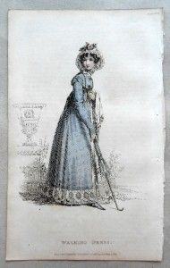 1820 Ackermann Ladies Fashion Regency Walking Dress and Brolly Lovely