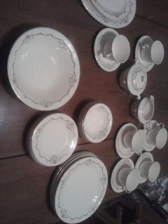 Knowles China Semi Vitreous Adams Gold Design Rim 36 Pieces
