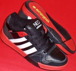 New Mens Adidas Neo Cup Black White Red Sneakers Comfort Casual Shoes