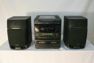 Shelf Stereo System w 3 cd player am fm stereo remote 2 speakers aux