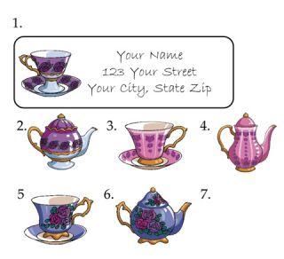 Personalized Flowered Tea Set Tea Cups Address Labels