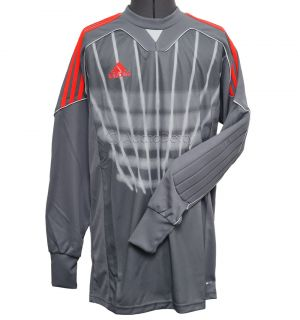 new★ Adidas Graphic 11 Mens Goal Keeper Jersey Gray Red Padded