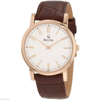 97A106 MENS QUARTZ WATCH WITH ROSE GOLD TONE CASE AND LEATHER STRAP