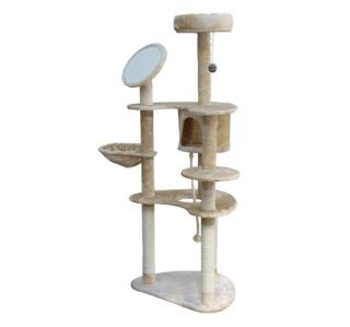 60 Cat Tree Condo Furniture Scratch Post Pet House   Cream