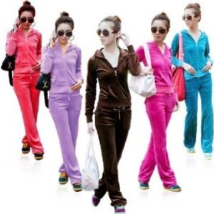 Fashion Girls Women Track Suit Hoodie Jacket Velvet Long Pants Set