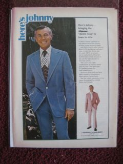 1973 Print Ad Johnny Carson Mens Apparel Fashions Denim Look Suit