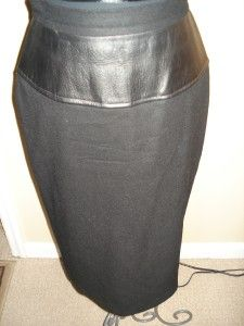 Adolfo Atelier Womens Black Wool Skirt with Leather Size 10