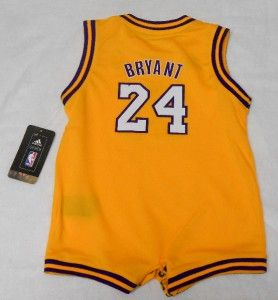 NBA Adidas Los Angeles Lakers Kobe Bryant Infant Gold Onesie Jersey
