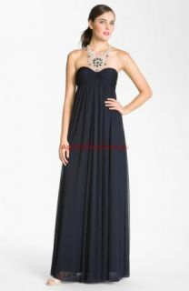 Adrianna Papell Beaded Yoke Empire Waist Mesh Halter Gown 16 Ink Blue