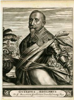 Antique Print King Gustav II Adolphus Sweden 1676