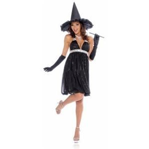 Adult Glamour Witch Womens Halloween Costume Black Dress Up