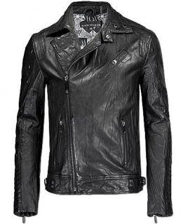 Affliction Black Premium Brain Storm Mens Leather Jacket New 10MCJ702