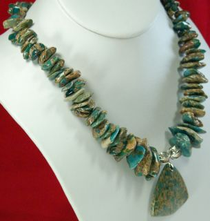 African Turquoise Nugget Pendant Silver Necklace 18 5