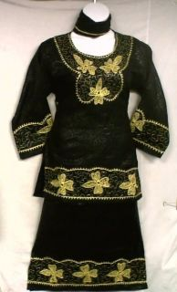 African Women Clothing 3PC Skirt Suit Outfit Black Gold NotCom S M L