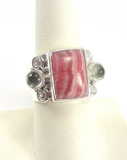 Sajen Sterling Silver Ring Pink Lace Agate Gray Cat's Eye Size 7 1/2