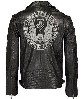 New Affliction Black Premium Leather Jacket Reborn Size 2XL 10OW464