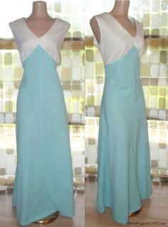 Vintage 60s 70s Space Age Empire Maxi Dress Prom Gown Disco Mod XL 1x
