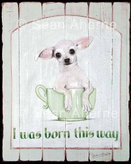 Teacup Chihuahua Dog Sign Print Plaque Picture Living Room Wall Art
