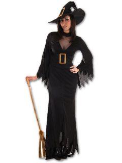 Sexy Wicked Witch Ladies Halloween Fancy Dress Costume Plus Hat