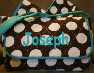 Monogrammed Diaper Bag Personalized Blue Brown White