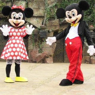 2PCS MICKEY MINNIE MOUSE ADULT COSTUME MASCOT CARTOON COSTUME PARTY
