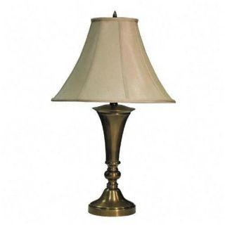 Advantus Antique Brass Finish Table Lamp with Bell Shade 27 High