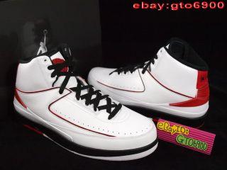 2010 Nike Air Jordan II 2 Retro QF White Black Red Basketba 395709 101