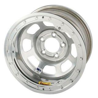 Bassett Silver D Hole IMCA Wheel 5 on 4 3/4, Beadlock, 4 Backspace