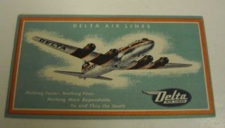 Delta Air Lines 1952 Boarding Pass Envelope
