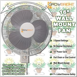 16 inch Wall Mount Oscillating Grow Fan 3 Speed Quiet