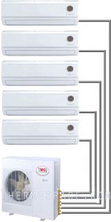 Ton Quint Zone Ductless Split Air Conditioner 60000 BTU 12000 x 5
