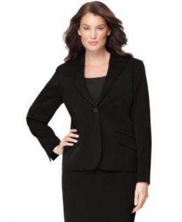 AK Anne Klein 1 Button Stretch Suit Jacket Womens Black Blazer Sz 16W