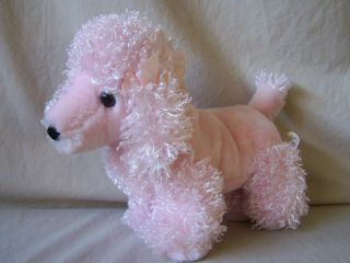 Fiesta Pink Poodle Plush Puppy Dog Curly Hair Stuffed Animal Toy 10