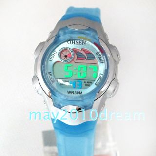 OHSEN Rubber Digital Alarm Light Boyss Girls Sports Watch