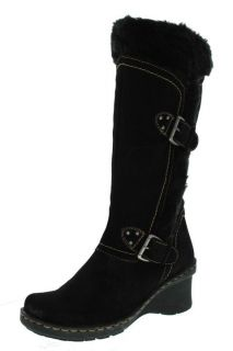 Bare Traps New Cathy Black Suede Faux Fur Lined Mid Calf Wedge Boots
