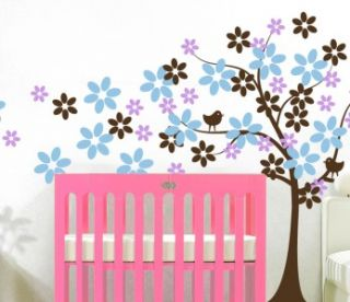 Vinyl Wall Decal Tree with Flowers Two Birds Removable Nursery