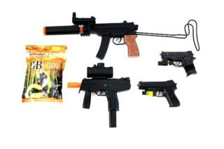 4x Spring Airsoft Gun Set SMG and Compact Pistols w/ Laser and 5,000