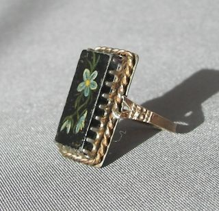 Antique Victorian Gold Ring Hand Painted Flowers Unique