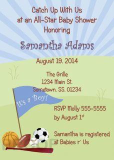 Sports Baby Shower Invitations Birthday Party Printable Football