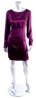 Akiko Womens Violet Purple Long Sleeve Silk Dress Sz s M
