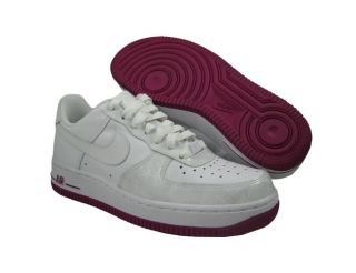 NWD Nike Womens Air FORCE1 07 White White Rave Pink Athletic Shoes US